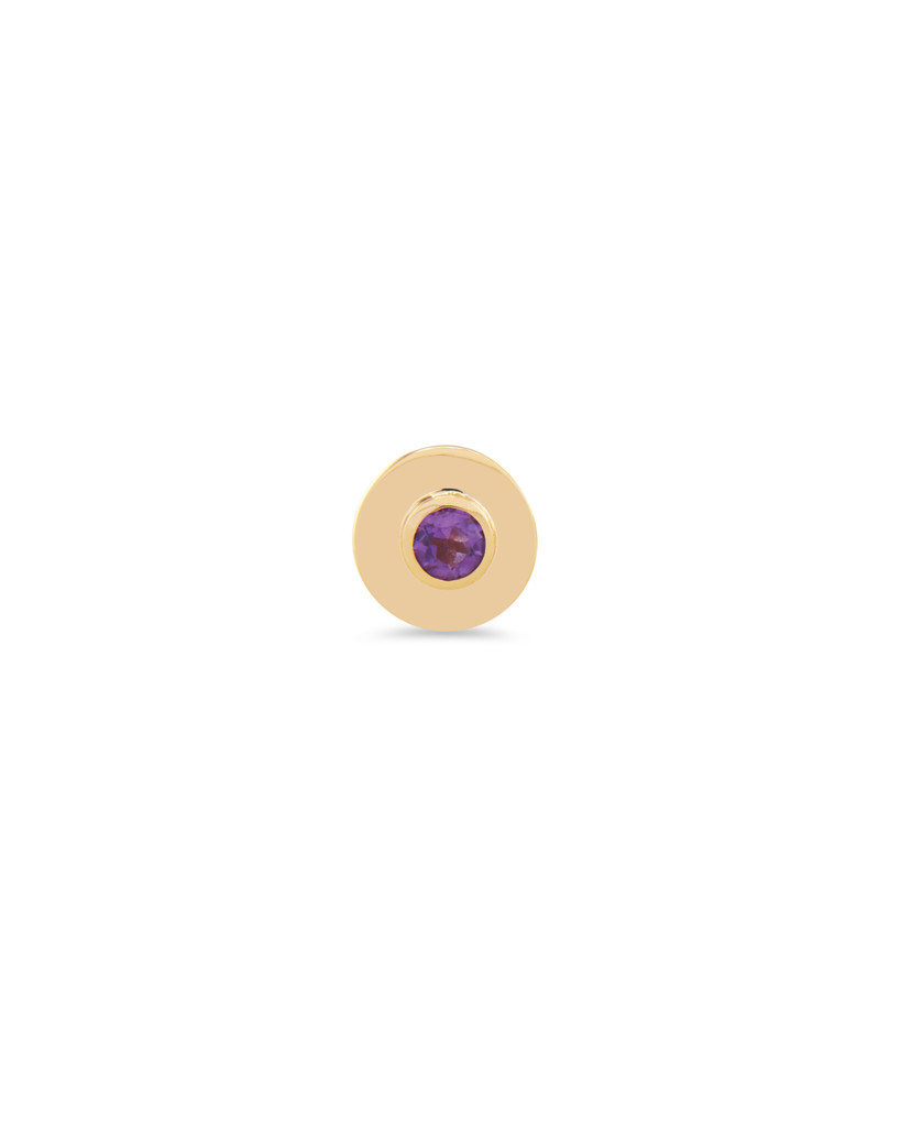 White Diamond and Amethyst 14K Yellow Gold Peace Sign Charm