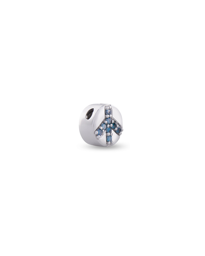 Blue Diamond 14K White Gold Peace Sign Charm