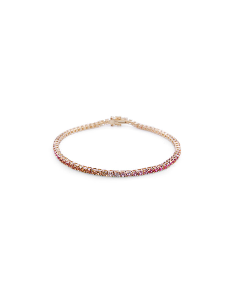 Pink and Orange Ombré Semi-Precious Stone 14K Yellow Gold Tennis Bracelet