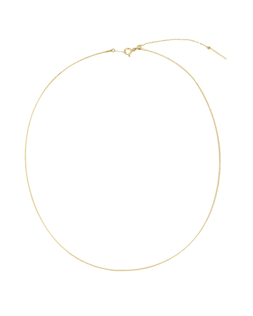 18K Yellow Gold Adjustable Textured Wire Necklace 16-18""