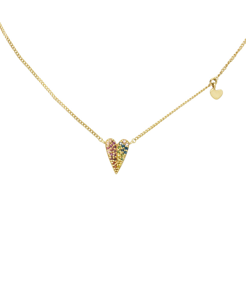 Rainbow Diamond 14K Yellow Gold Folded Heart Necklace