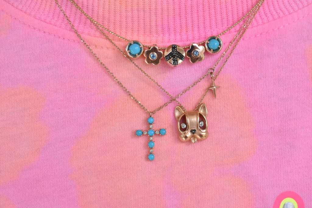 Turquoise and White Diamond 14K Rose Gold Cross Necklace with Small Cross Charm