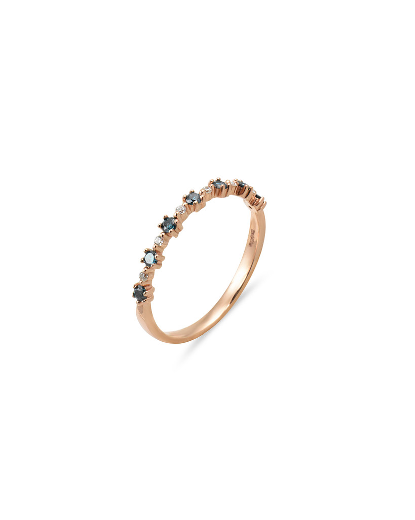 "Blue Diamond 14K Rose Gold ""Flowerette"" Style Stackable Ring"