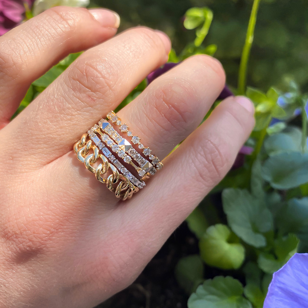 """White Diamond 14K Yellow Gold """"Flowerette"""" Style Stackable Ring"""