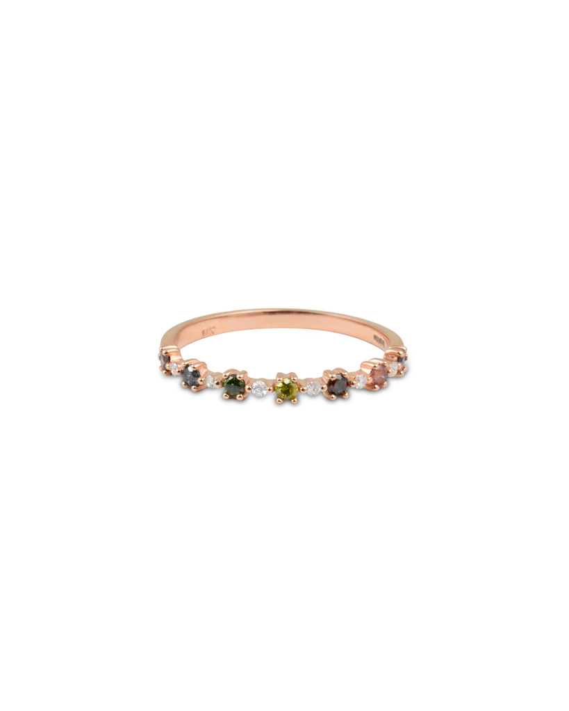 """Rainbow Diamond 14K Rose Gold """"Flowerette"""" Style Stackable Ring"""