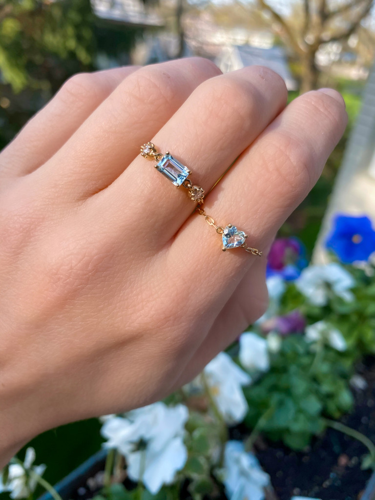 """Aquamarine 18K Yellow Gold """"Perfect Fit"""" Adjustable Heart Chain Ring"""