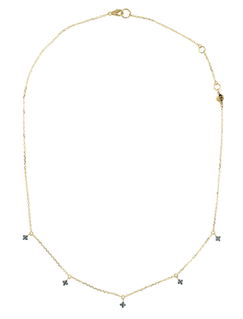 Northern Star Blue Diamond 14K Yellow Gold Charm Necklace