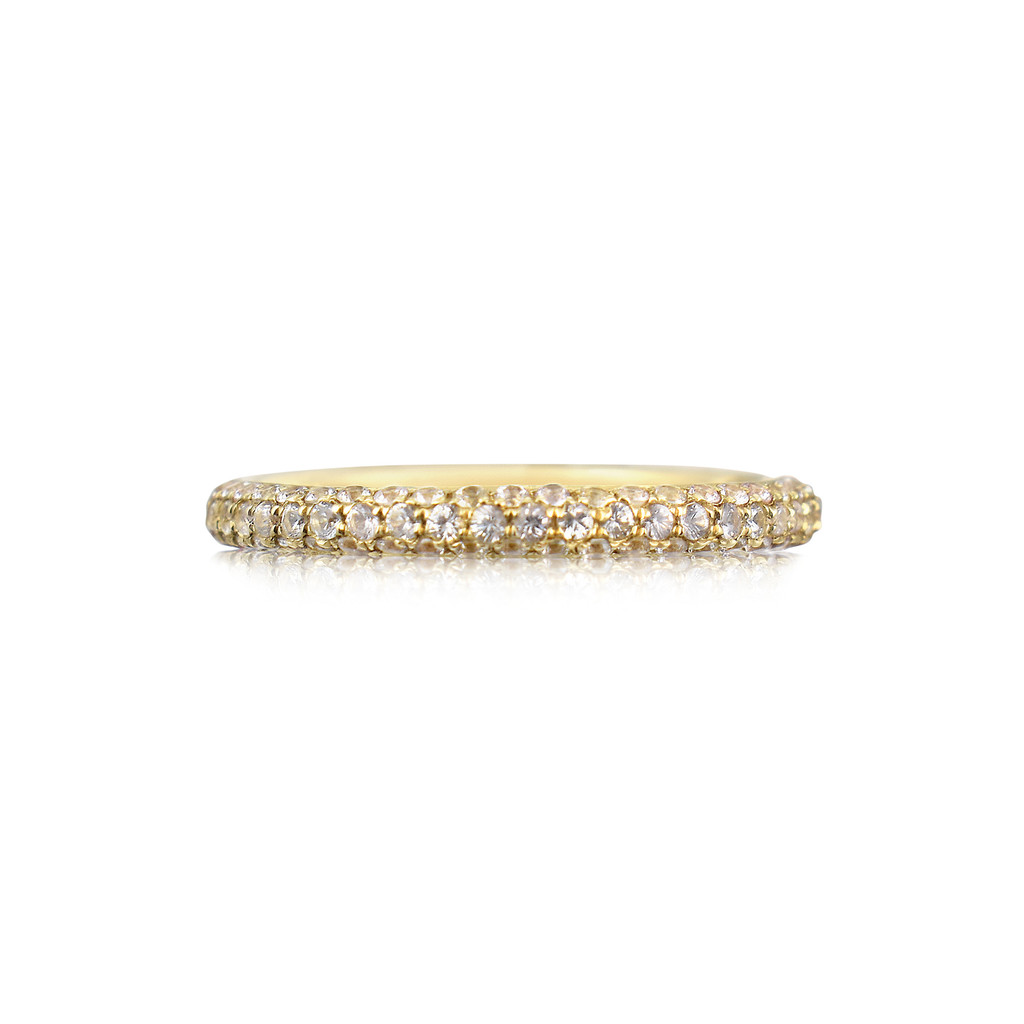 White Sapphire 14K Yellow Gold Pave Eternity Band