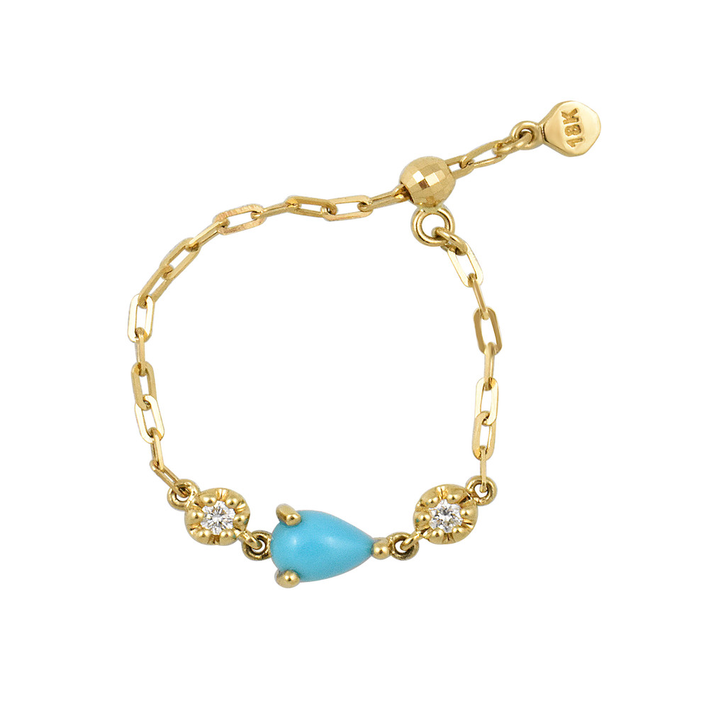 """Pear Shaped Turquoise 18K Yellow Gold """"Perfect Fit"""" Adjustable Chain Ring with White Diamonds"""
