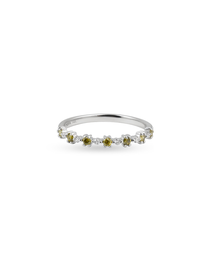 "Yellow Diamond 14K White Gold ""Flowerette"" Style Stackable Ring"