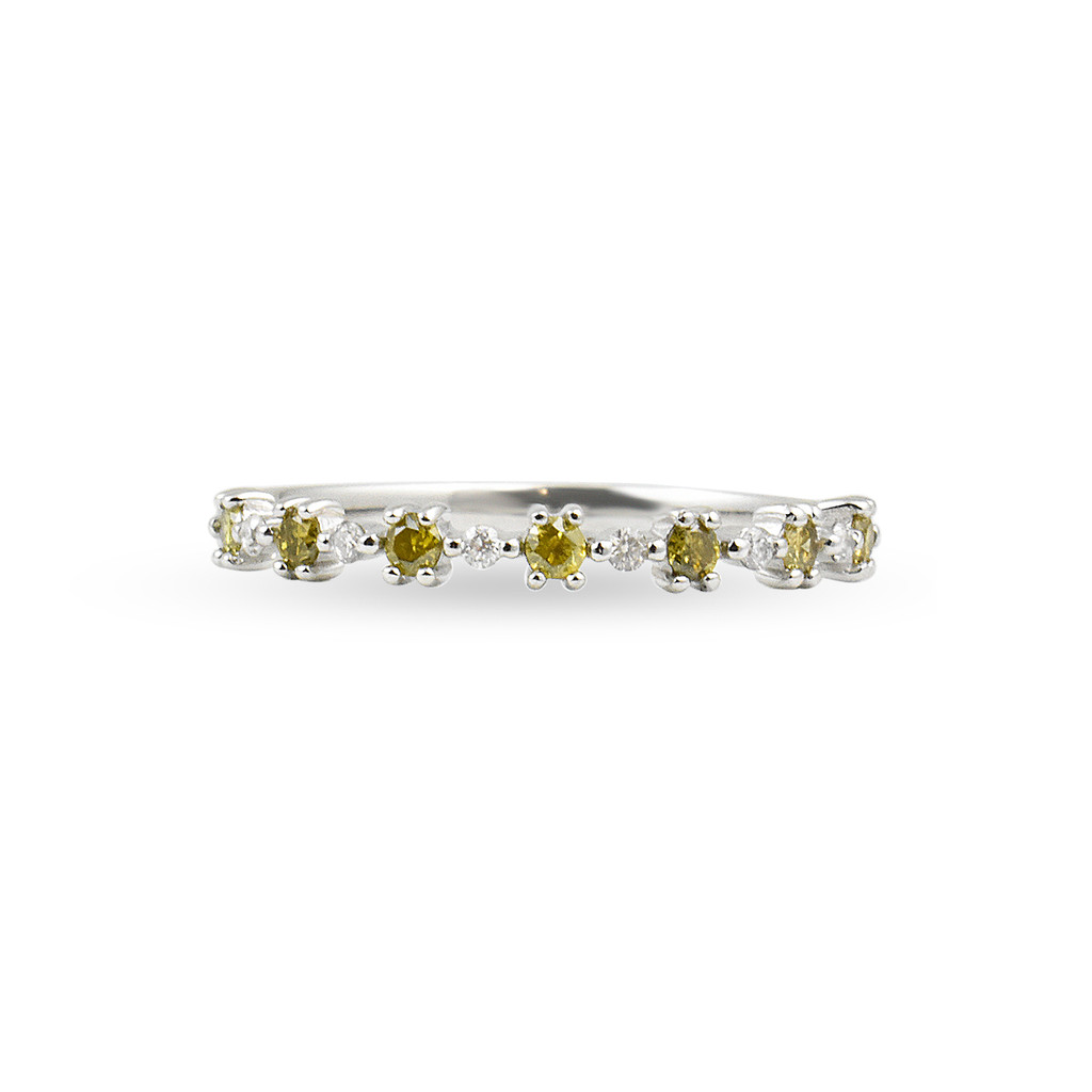 """Yellow Diamond 14K White Gold """"Flowerette"""" Style Stackable Ring"""