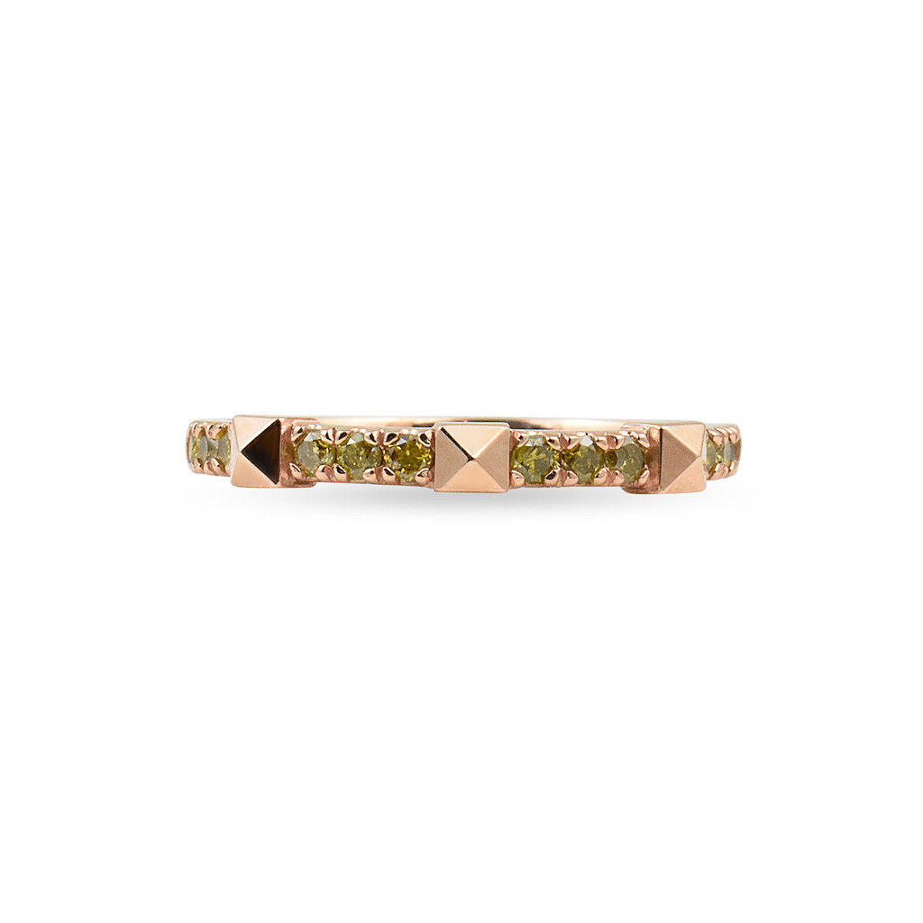 Yellow Diamond 14K Rose Gold Pyramid Stackable Ring