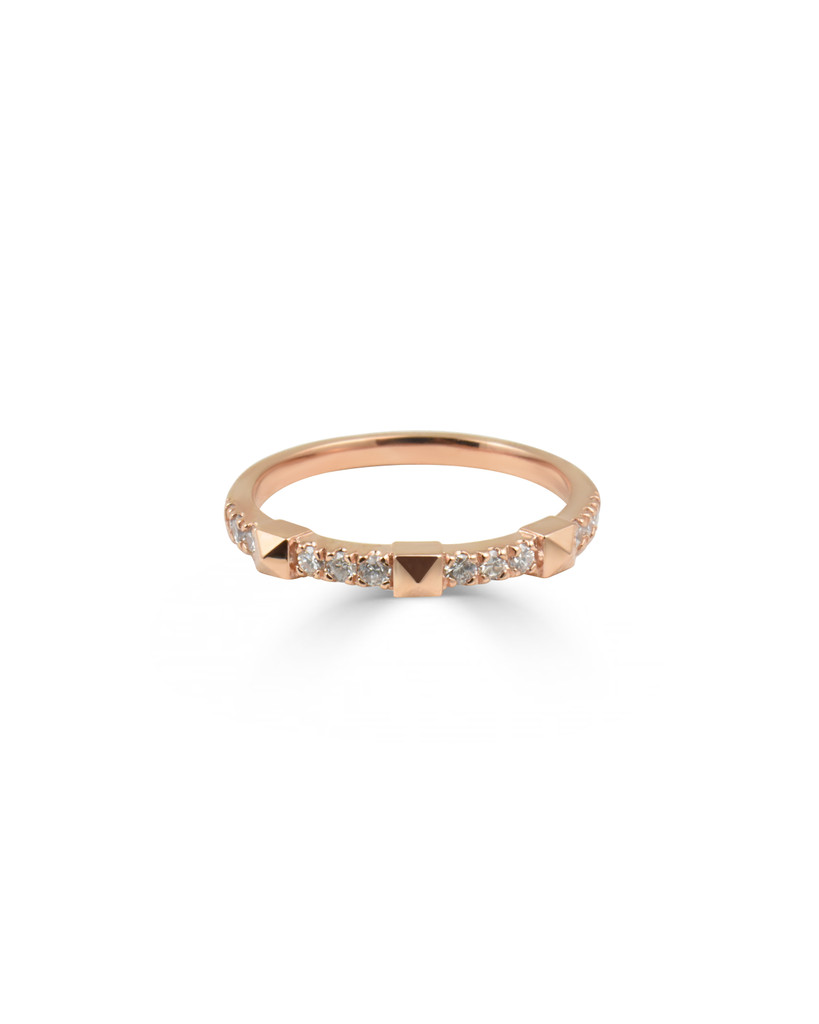 White Diamond 14K Rose Gold Pyramid Stackable Ring