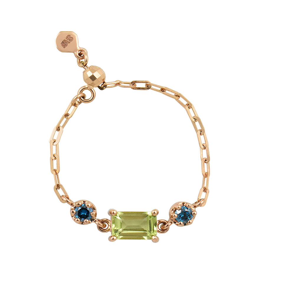 """Emerald Shaped Peridot 18K Rose Gold """"Perfect Fit"""" Adjustable Chain Ring with Blue Diamonds"""