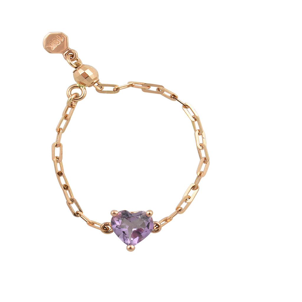 "Lavender Amethyst 18K Rose Gold ""Perfect Fit"" Adjustable Heart Chain Ring"