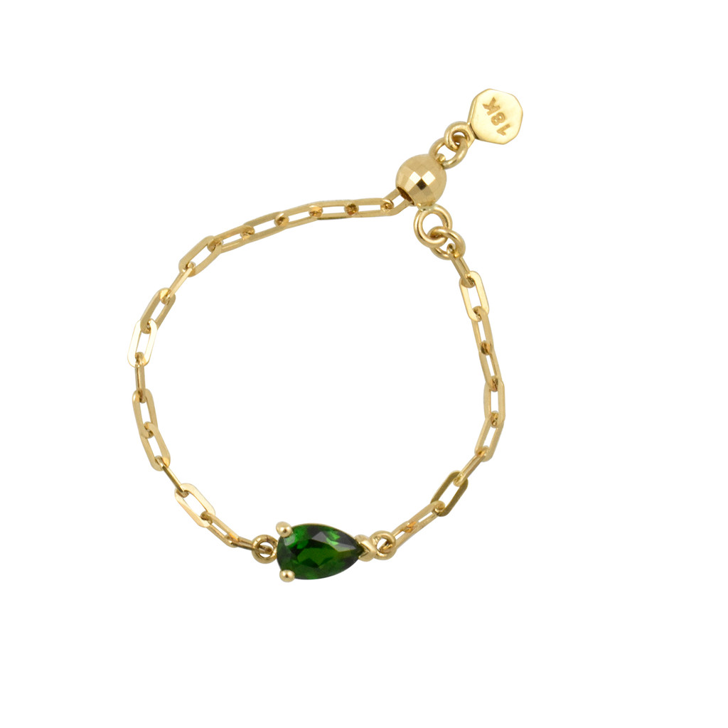 "Pear Shape Chrome Diopside 18K Yellow Gold ""Perfect Fit"" Adjustable Chain Ring"