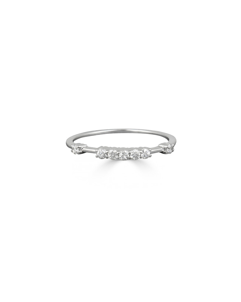 Raised White Diamond 14K White Gold Stacking Ring