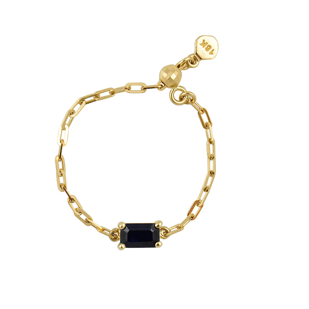 """Blue Sapphire 18K Yellow Gold """"Perfect Fit"""" Baguette Adjustable Chain Ring"""