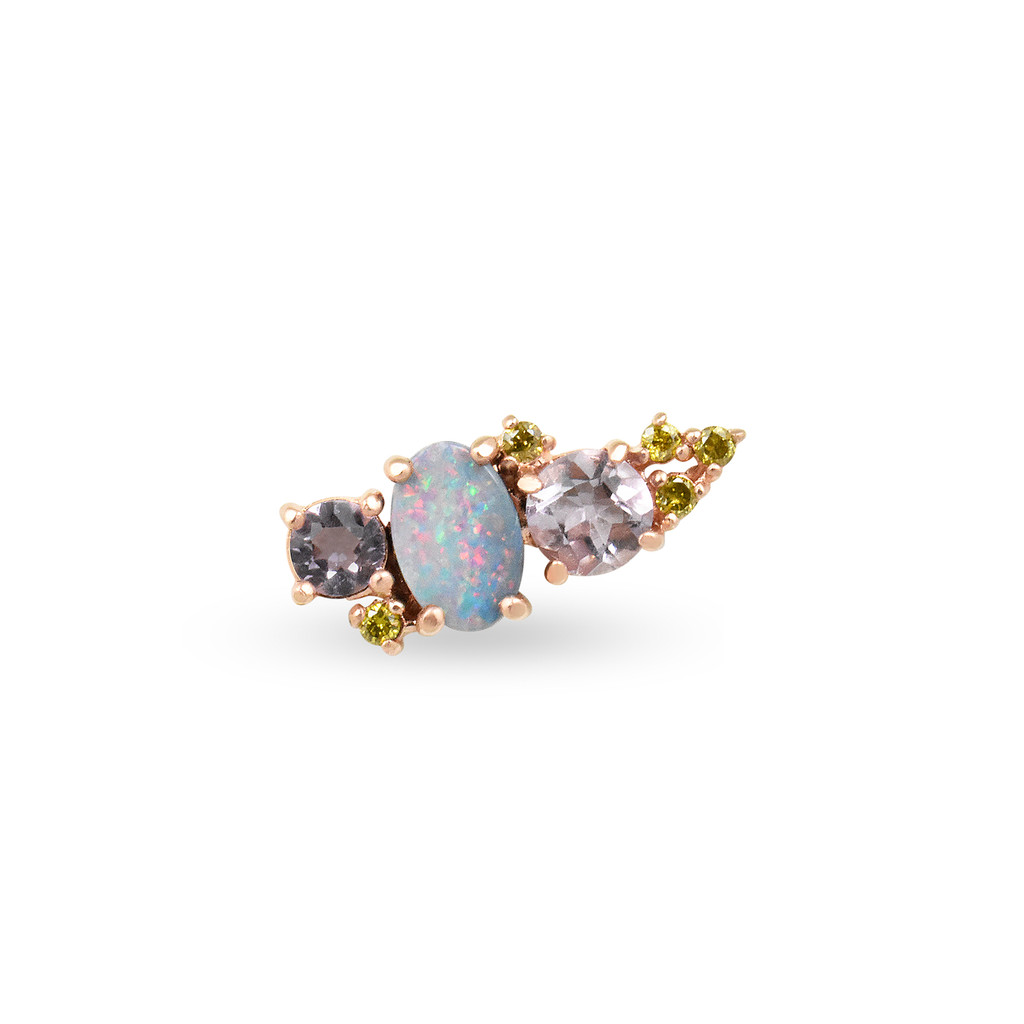 Yellow Diamond 14K Rose Gold Mini Ear Climber w/ Lavender Amethyst & Opal - Left Ear