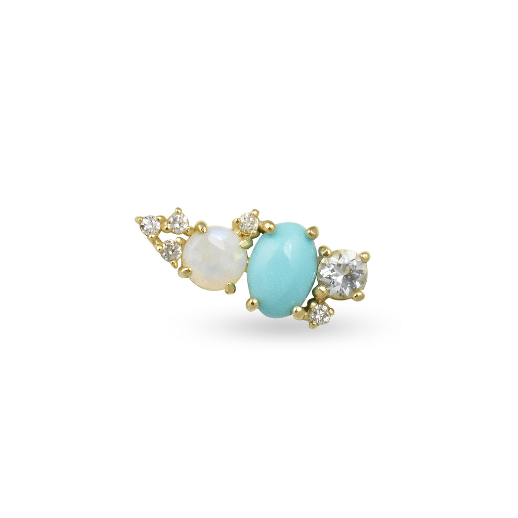 White Diamond 14K Rose Gold Mini Ear Climber w/ Aquamarine, Opal, & Turquoise - Right Ear