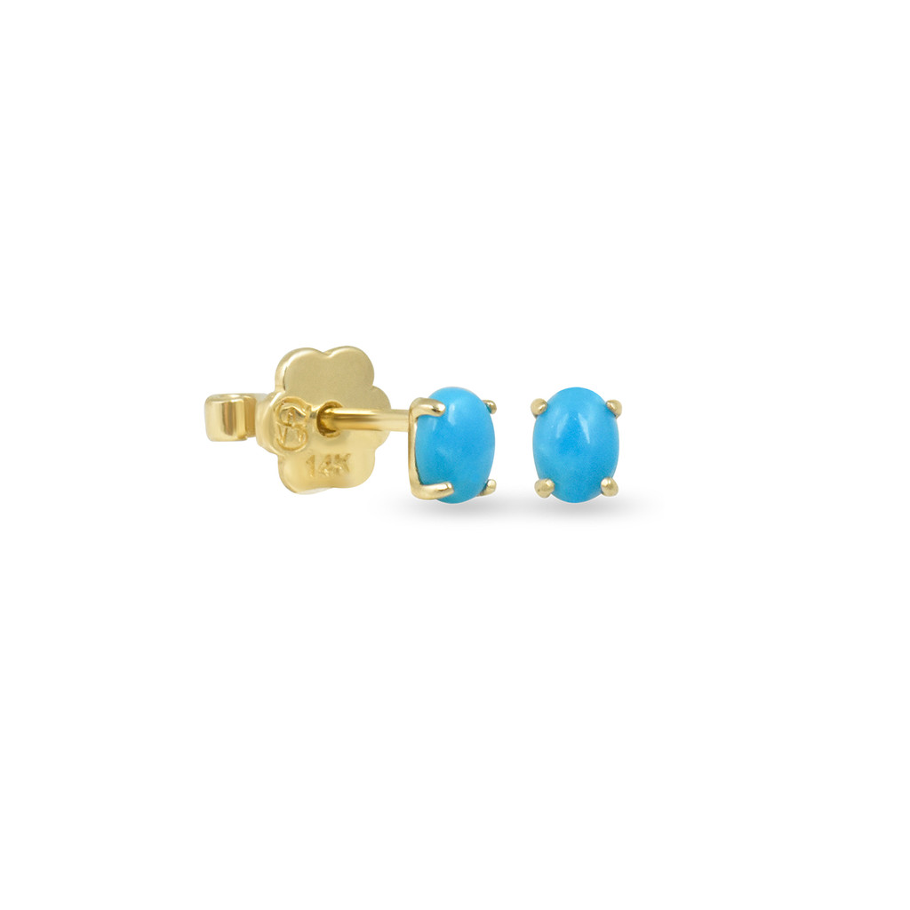 Oval Turquoise 14K Yellow Gold Cabochon Stud, Single