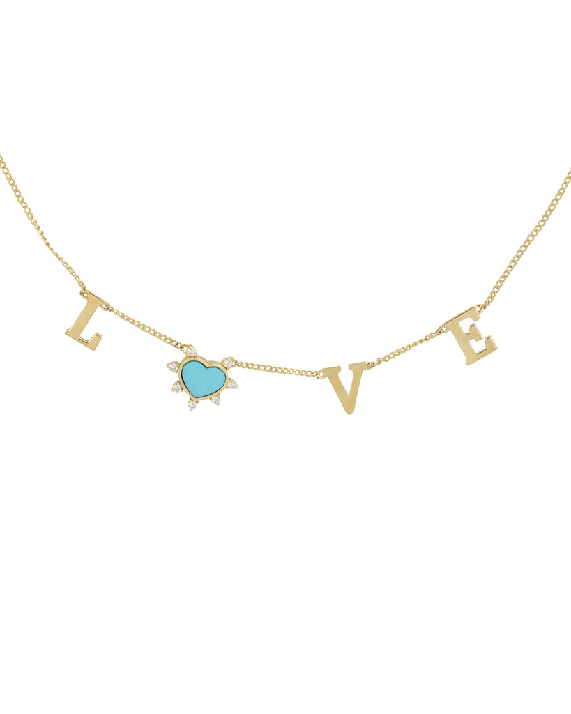 White Diamond & Turquoise Heart 14K Yellow Gold LOVE Name Necklace