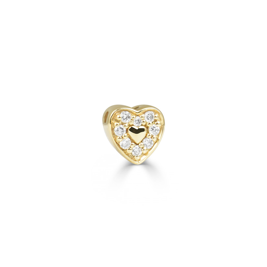 Aquamarine 14K Yellow Gold Heart Charm with 18K Wire Necklace