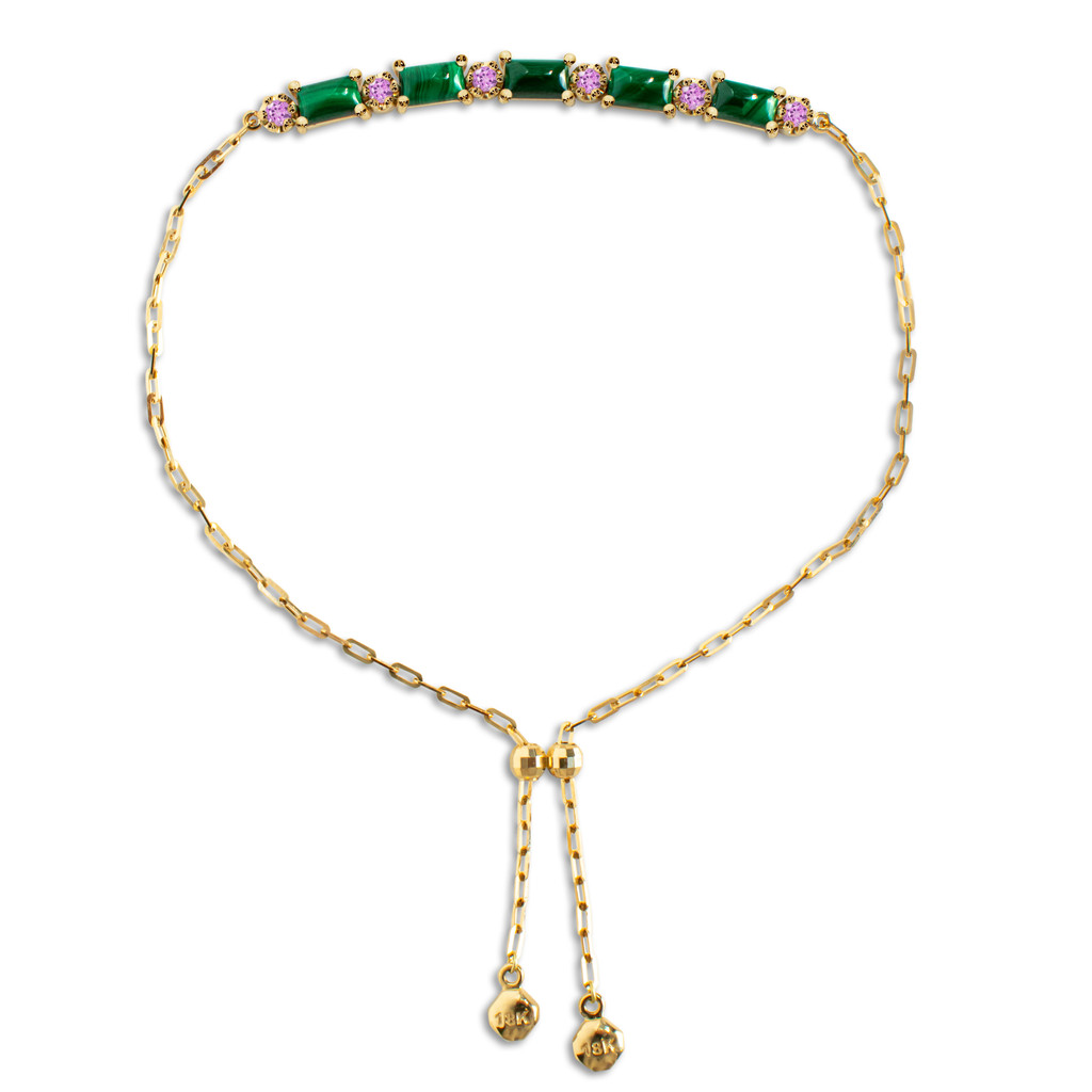 """Malachite Square Cabochon 18K Yellow Gold """"Perfect Fit"""" Adjustable Bracelet with Pink Sapphires"""