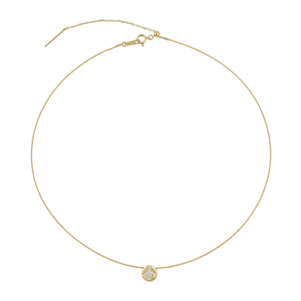 White Diamond Peace Sign Charm + 18K Yellow Gold Wire Necklace