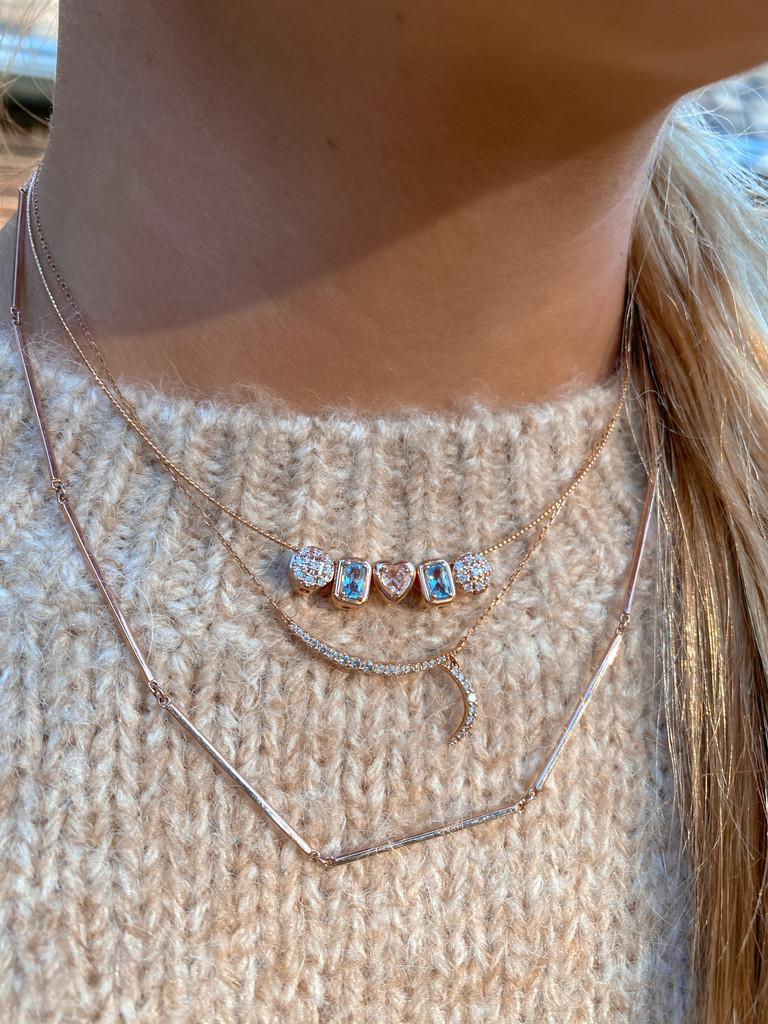 Peace, Love, & Luck Pre-Made Rose Gold GemDropp Charm Necklace