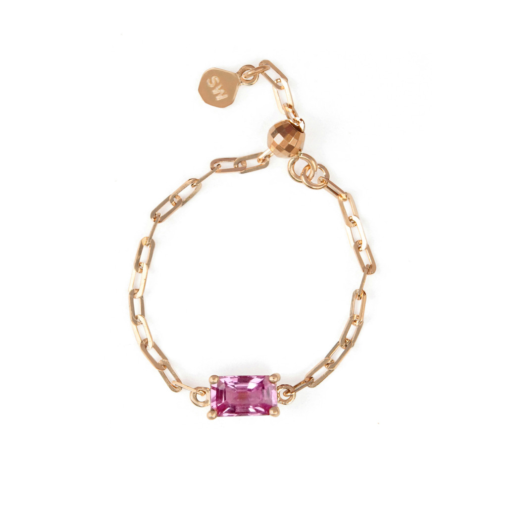 "Pink Sapphire 18K Rose Gold ""Perfect Fit"" Baguette Adjustable Chain Ring"