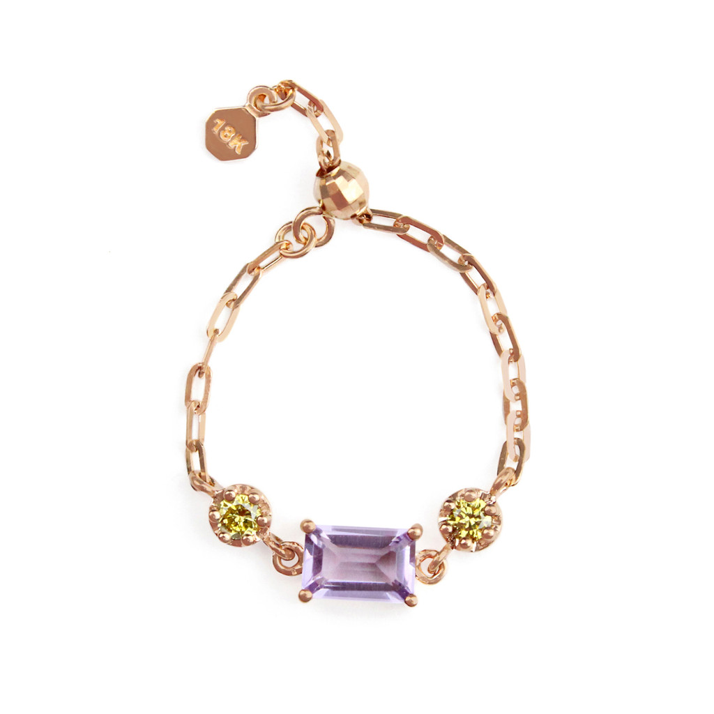 """Emerald Cut Pink Amethyst 18K Rose Gold """"Perfect Fit"""" Adjustable Chain Ring with Yellow Diamonds"""