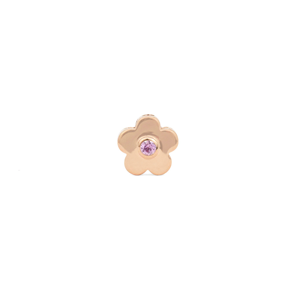 Pink Diamond 14K Rose Gold Daisy Charm with Pink Sapphire
