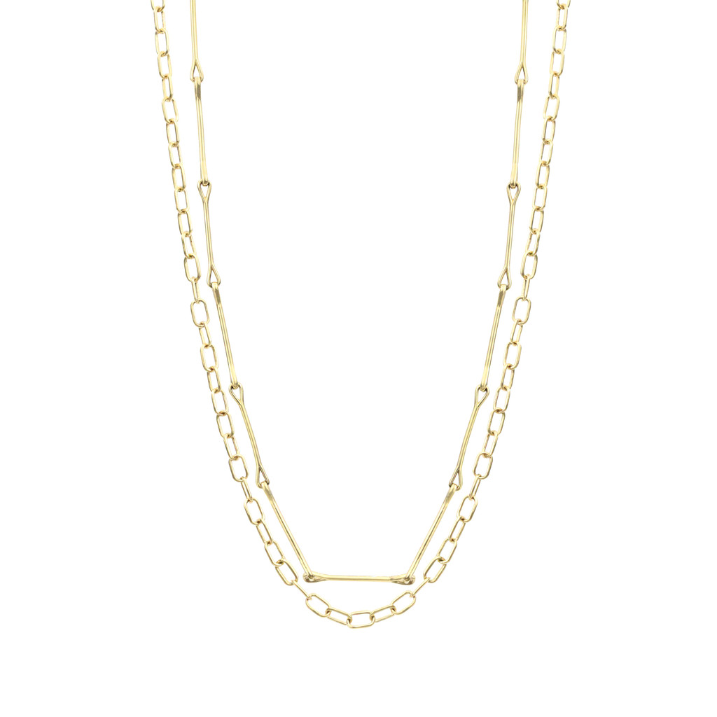 Handmade Bar & Oval Cable 14K Yellow Gold Double Chain Necklace