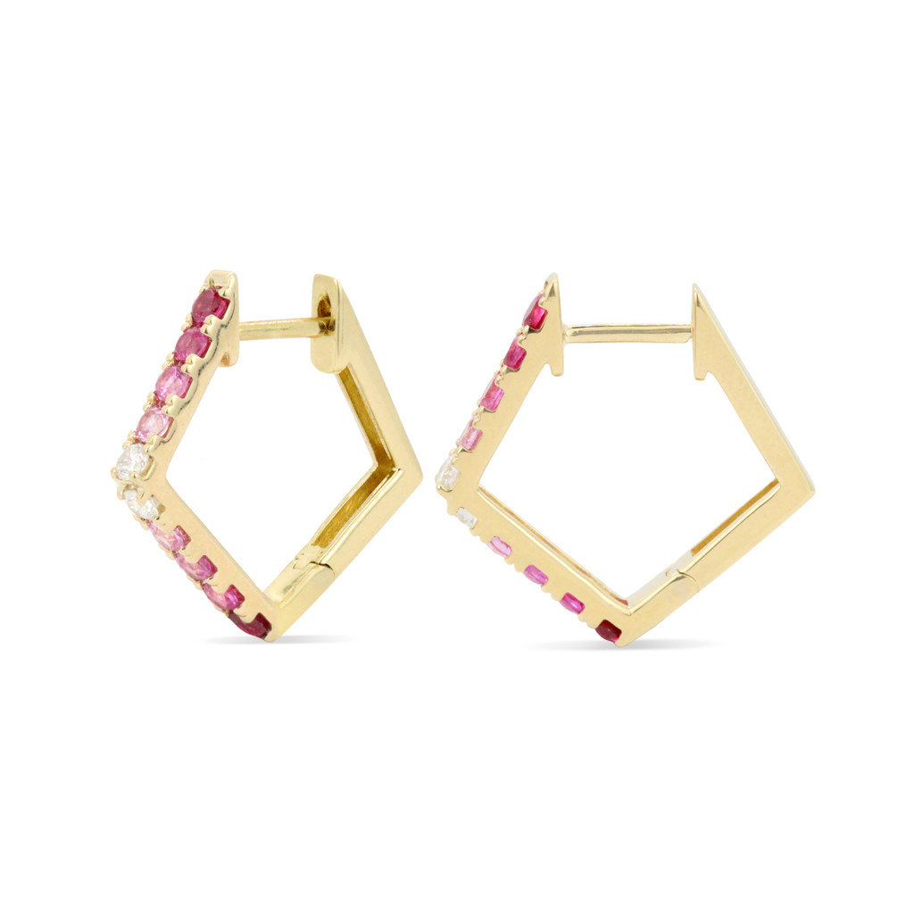 Red Ruby, Pink Sapphire, and White Diamond 14K Yellow Gold Paved Pentagon Hoops