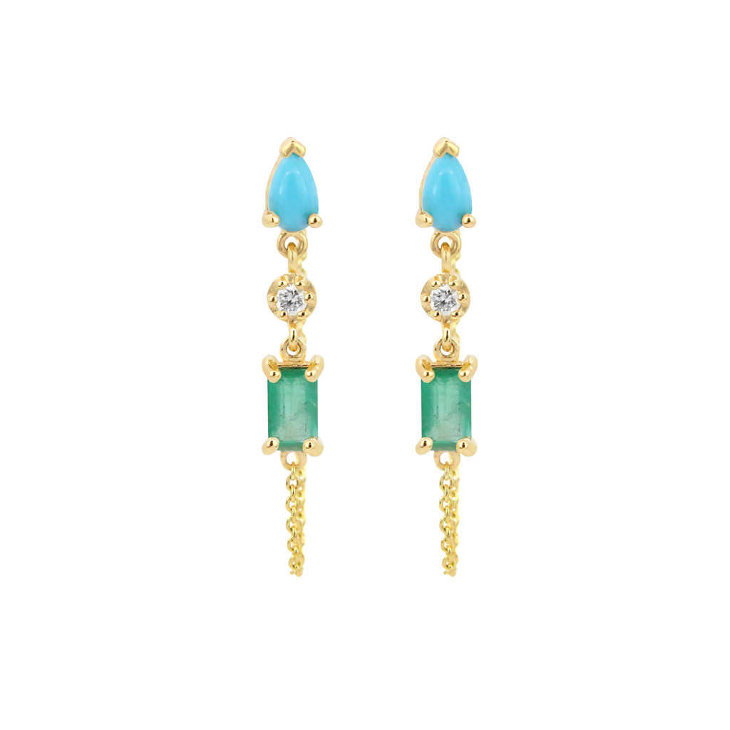 White Diamond, Turquoise, & Emerald  14K Yellow Gold Dangle Earrings with Chain