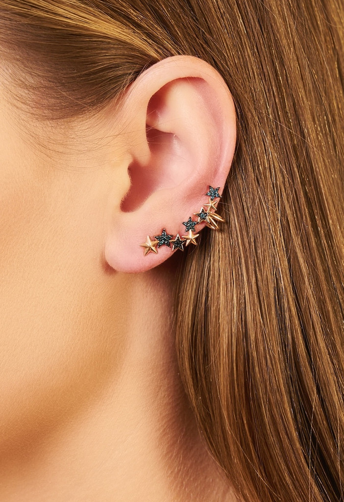 Star Gold Ear Cuffs with Blue Diamonds