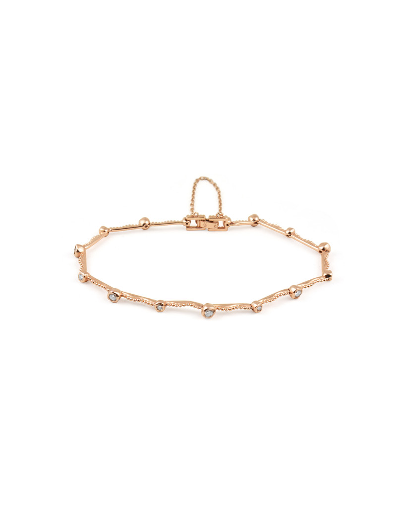 White Diamond 14K Rose Gold Textured Bar Bracelet