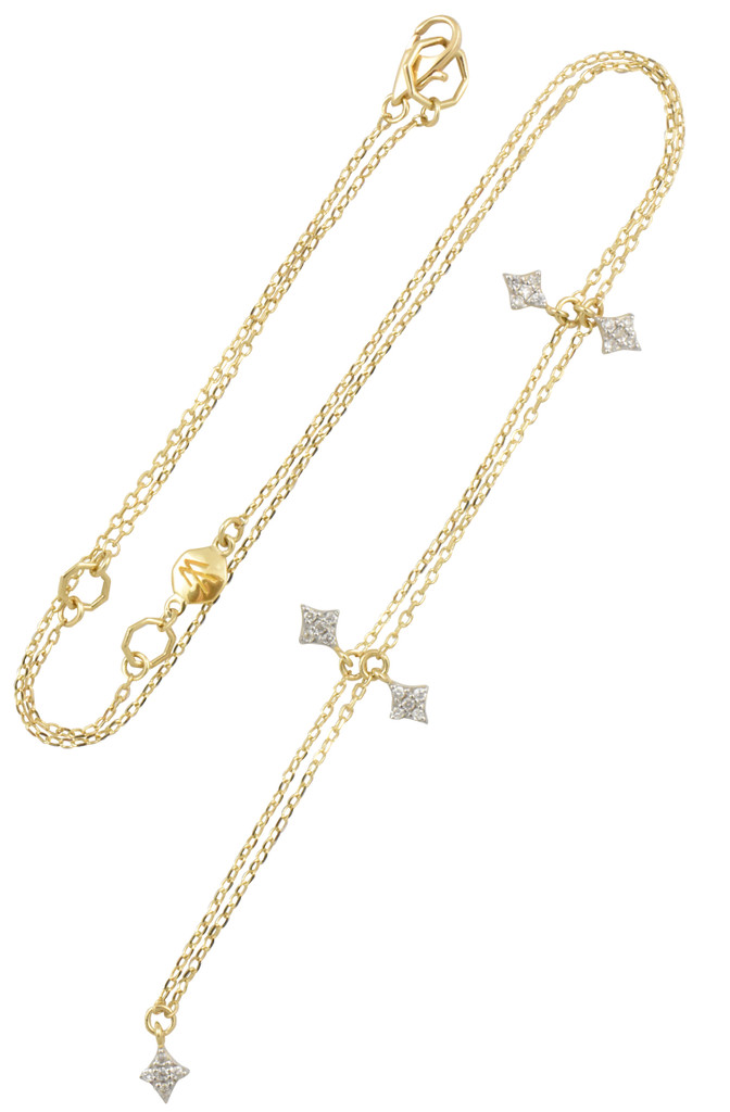 Northern Star White Diamond 14K Yellow Gold Charm Necklace