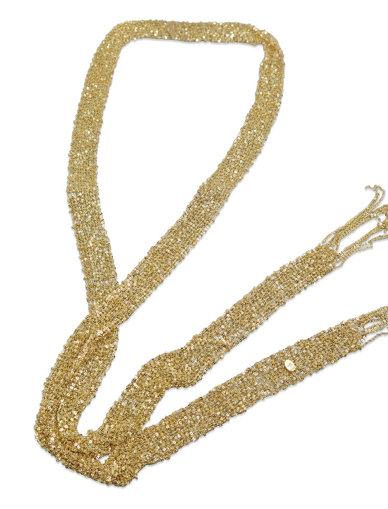 18K Gold Plated Hand Woven Mesh Scarf Necklace - Stevie Wren Fine Jewelry