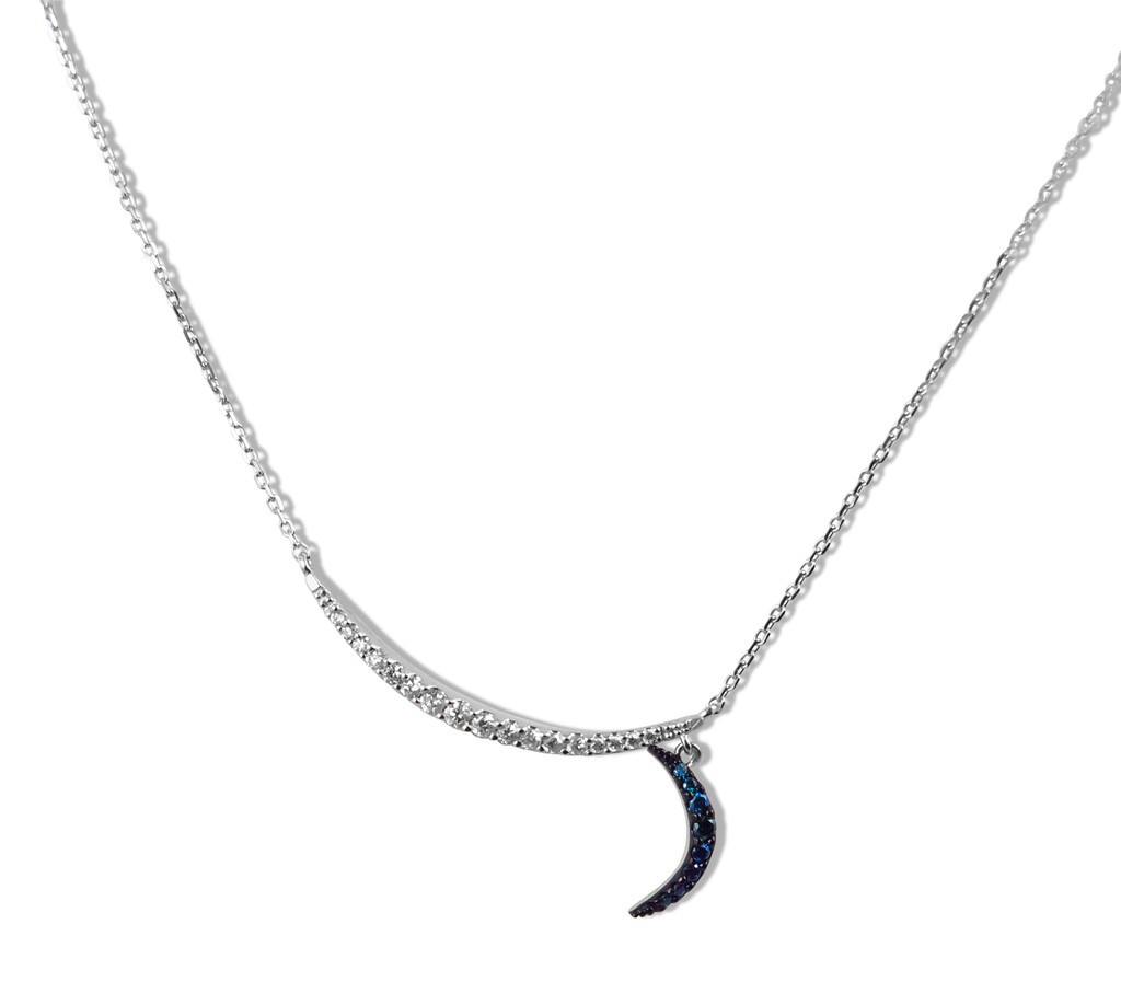 Blue and White Diamond 14K White Gold Double Crescent Moon Necklace