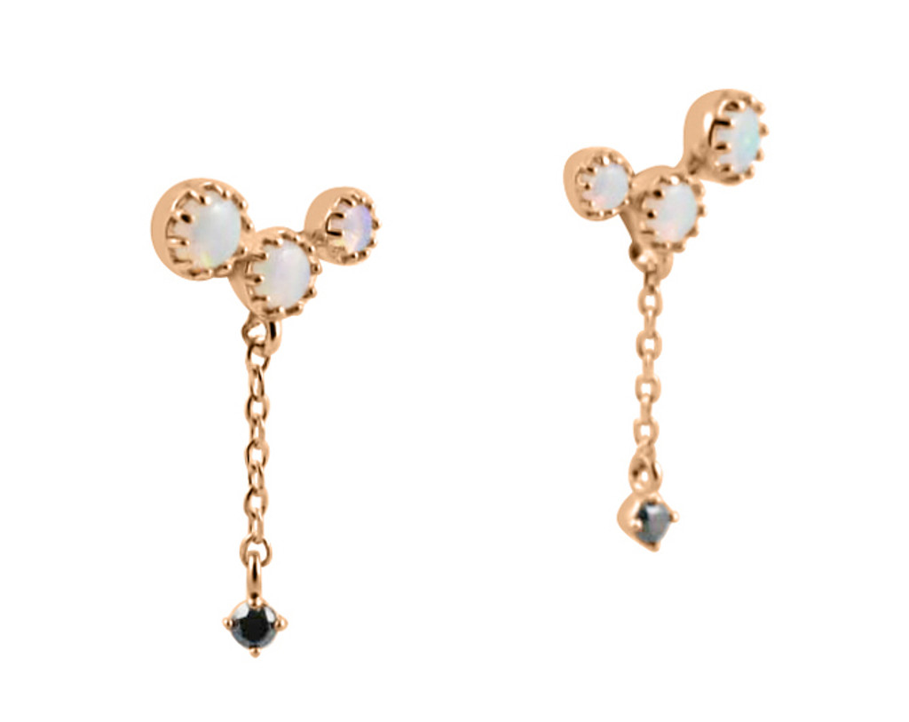 Diamond and Opal Dangle Earrings