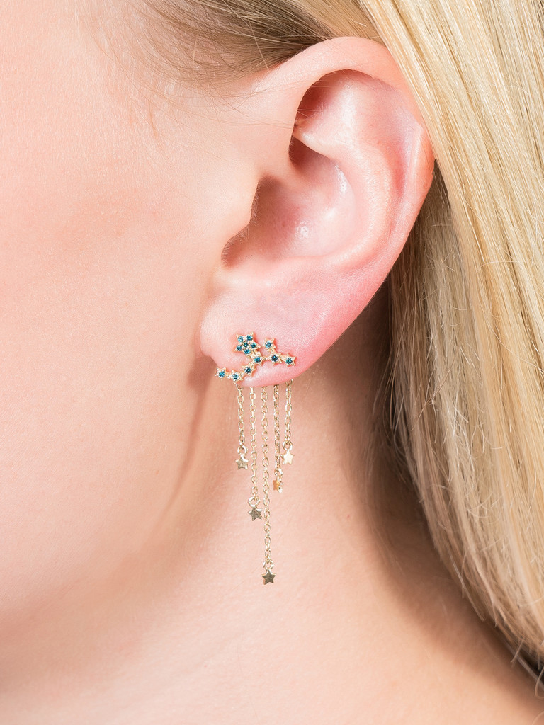 Blue Diamond Star Ear Climbers