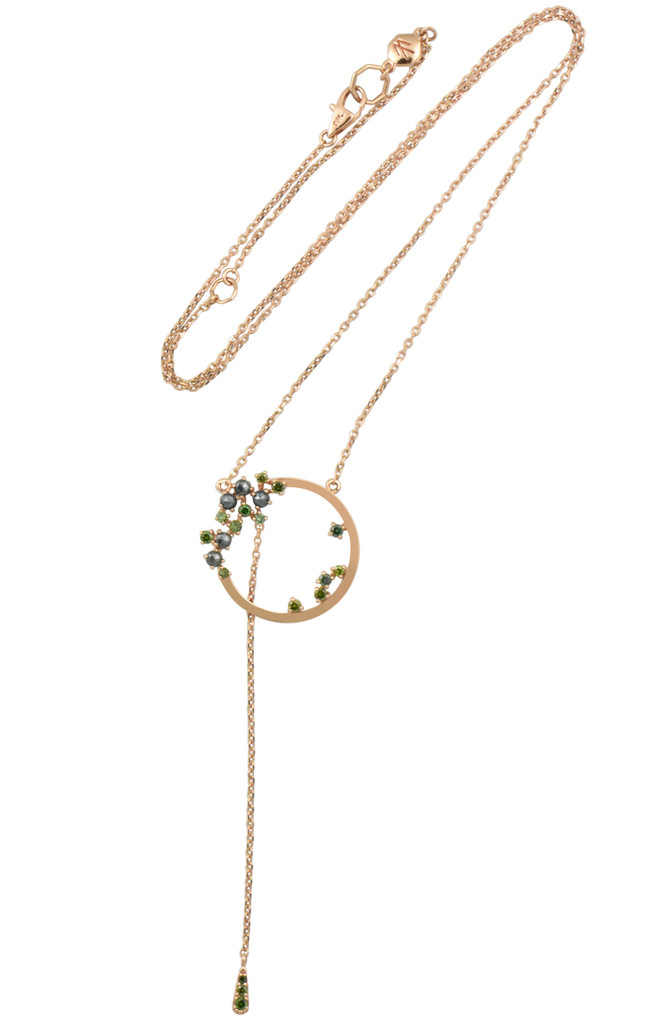 Blue and Green Brilliant Rose Cut Diamonds Rose Gold Circle Necklace