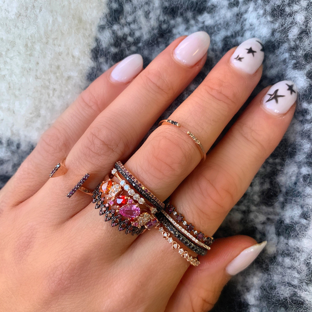 "Multi-Pink Diamond 14K Rose Gold ""Zig-Zag"" Ring, Oxidized Prongs"