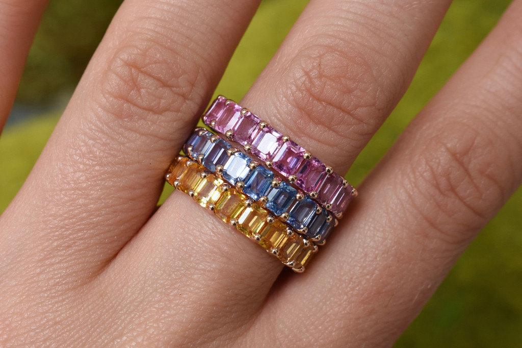 Fancy Blue Sapphire 14K Rose Gold Baguette Band Eternity Ring