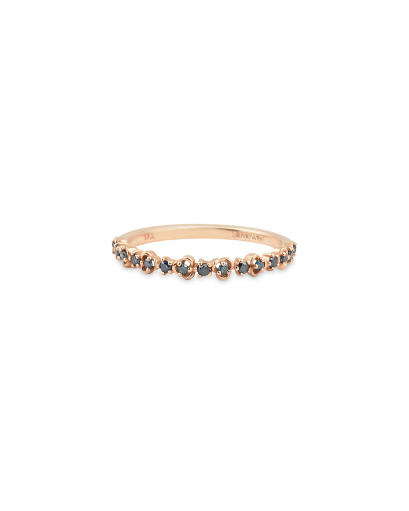 "Blue Diamond 14K Rose Gold ""Vine"" Style Stackable Ring"