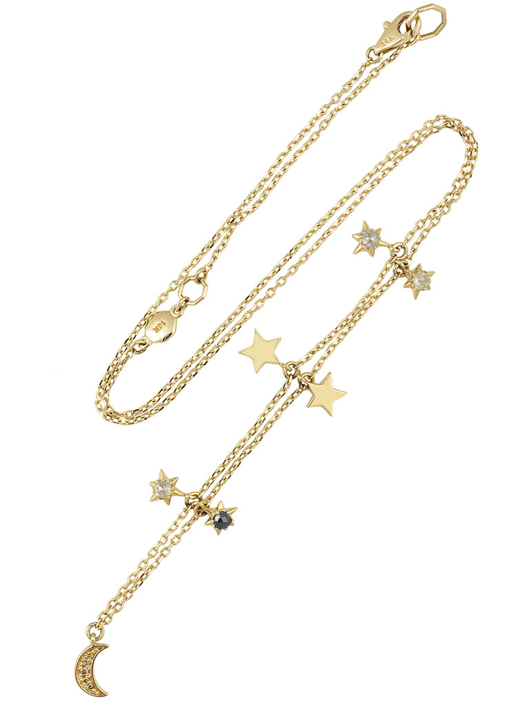 Celestial Blue and White Diamonds 14K Yellow Gold Charm Necklace