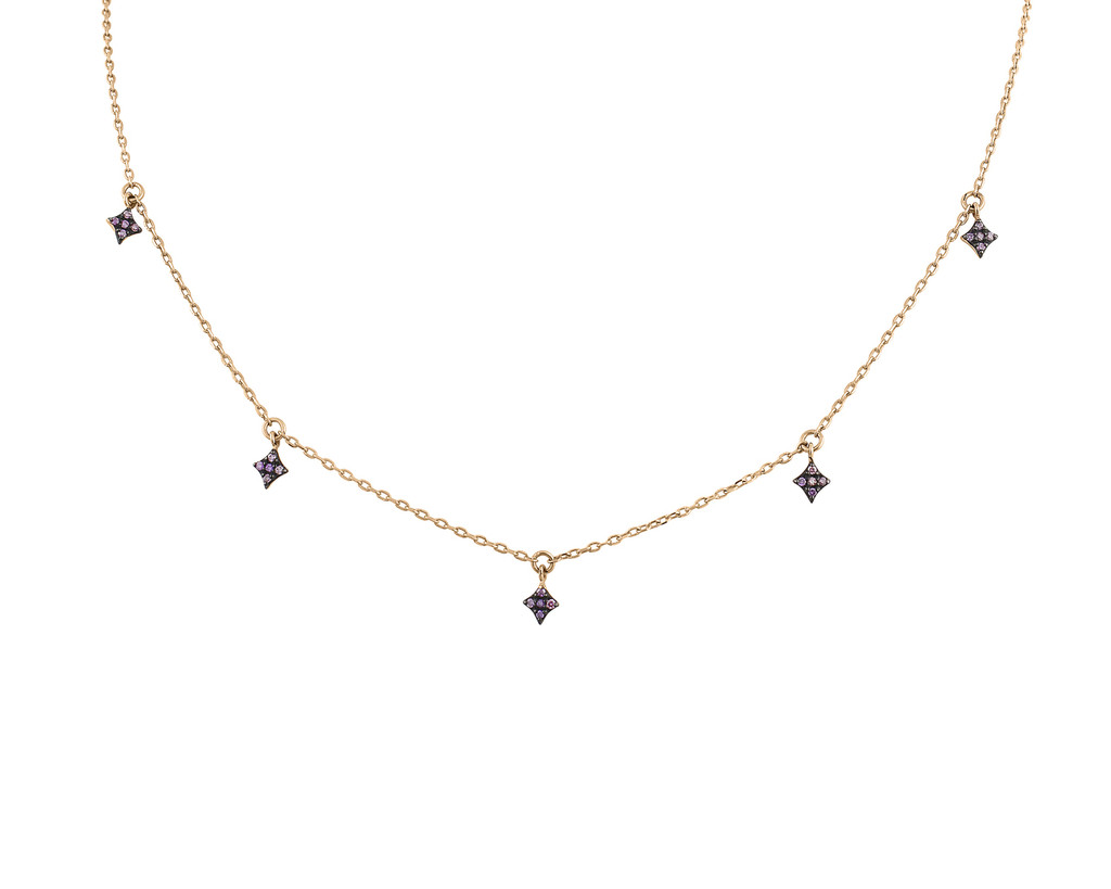 Multi Pink Diamond 14K Gold Star Charm Necklace
