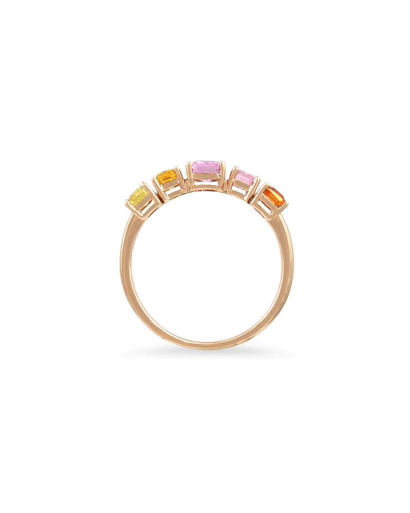 White Diamond 14K Rose Gold Light and Dark Pink and Orange Emerald-Cut Sapphire Ring